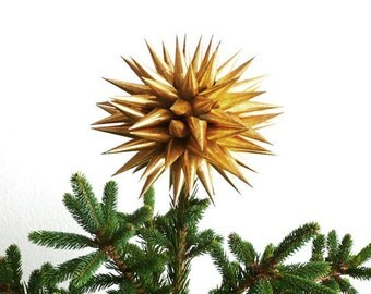Handmade Gold Christmas Tree Topper Paper Polish Star Hanging Decoration Contemporary Luxury Holiday Home Decor Ornament - Antique Gold