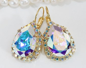 AB Bridal Earrings Swarovski Teardrop Earrings Drop AB Crystal Pear Shape Chandalier Earrings Wedding Crystal Halo earrings,Gold,AB,GE101