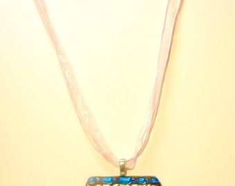 Square Bright Jewel Tones Dichroic Glass Basketweave Pendant and Ribbon Necklace
