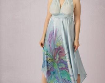 Silk Dress Convertible Dress Hand Painted Dress Pearl Grey Dress One Size Custom Made
