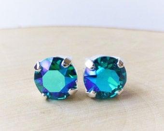Teal Swarovski Stud Earrings, Crystal Rhinestone Stud Earrings, Blue, Green, AB Prism Post Earrings, Silver Round Crystal Studs, Gift