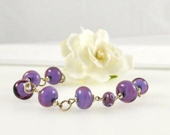 Bead Bracelet Purple, Handmade Lampwork Glass Bracelet, Purple Glass Jewellery, Purple Glass Bracelet, Purple Australian Jewellery