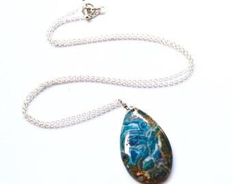 Blue Crazy Lace Agate . Necklace . Long