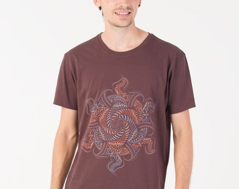 Mens T-shirt Psychedelic Vortex Mandala Shirt Screen Printed Brown T shirt Psy Trance Goa Burning Man Clothing