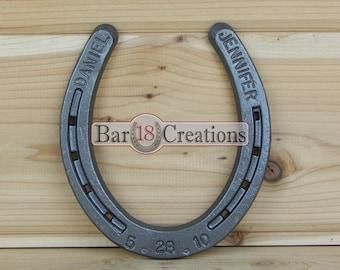 Custom Stamped Horseshoe - Personalized 6th or 11th Anniversary Gift, Iron Wedding Anniversary, Steel Anniversary