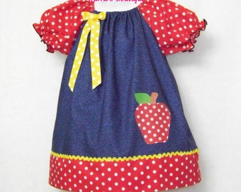 Apple Peasant Dress / Blue & Red Dots  / School / Fall / Christmas/ Birthday/ Newborn / Infant / Baby / Girl / Toddler / Boutique Clothing