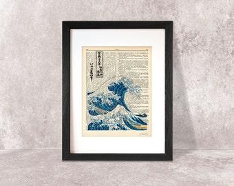 The Great Wave off Kanagawa dictionary print-Kanagawa print-The Great Wave print-The Wave on book page-Kanagawa print-by NATURA PICTA-DP018