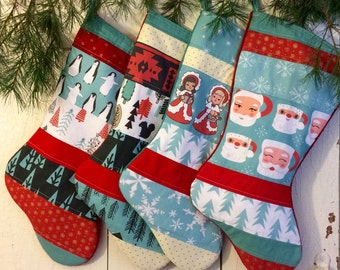 Quilted Christmas Stocking Set of Four, Retro Collection, Personalized, Modern, Red, Turquoise, Black, Santa Mugs, Penguin, Angels, Holiday