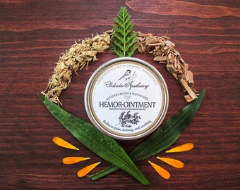 Hemor-Ointment Hemorrhoid Relief Salve 2oz - Soothes, Repairs, Reduces Inflammation - Organic Herbs Butcher's Broom, Witch Hazel, Plantain