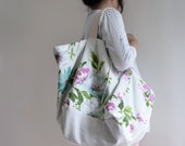 Floral Flower pattern Tote Bag - ON SALE 20% Off extra large reversible bag, double sided tote bag. Style114. Ready to ship