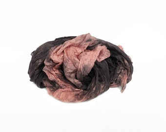 peach silk scarf - Camila  - peach, coral, brown-black silk ruffled scarf.
