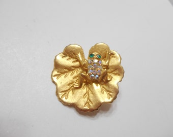 Gorgeous Aurora Borealis Brooch (1663/79) Frog Laying On A Lilypad