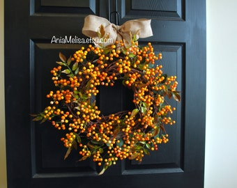summer wreath fall wreaths pip berry Thanksgiving wreaths for front door wreaths outdoor wreaths fall outdoor wreaths
