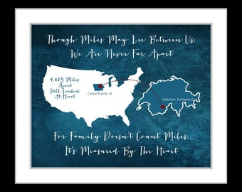 Family gift ideas, long distance maps, mom gift idea, any maps, retirement, california map, anniversary, washington map, family state maps