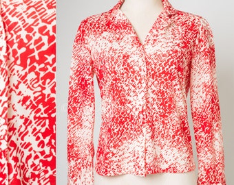 Vintage top, 60s Top, Mod Top, Vintage red top, Abstract top, womens tops, red blouse - S/M