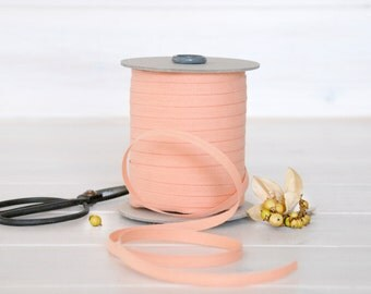 "Peach Cotton Ribbon - 5, 20 or 109 Yards - 100% Cotton from Italy - 1/4"" wide - Peach Color Ribbon - DIY Etsy Weddings - Eco Friendly Bulk"