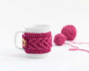 Cup Cozy in color Bright Pink, Knitted Mug Cozy, Coffee Cozy, Tea Cup Cozy, Handmade Wooden Button, Coffee Cozy Sleeve, Warmer, Fall, Gift
