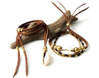 Festival Jewelry Suede Cowrie Shell Necklace & Stacking Bracelet Set - CHOCOLATE BROWN - Boho Jewelry Bohemian Jewelry Gypsy Jewelry Set