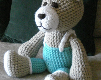 "Crocheted teddy bear stuffed animal doll toy ""Arnie"""
