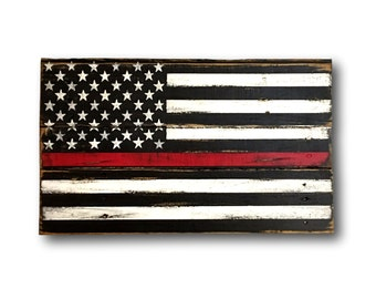 Thin Red Line Wood Flag - Firefighter Gift - Wood Firefighter Flag - Fireman Gift - Fire Academy Gift - Firefighter Decor - Firefighter Art