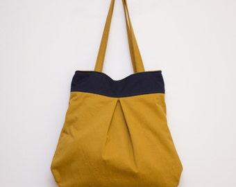 Mustard Yellow Tote, Yellow Blue Bag, Large Tote Bag, Yellow Shoulder Bag, Cotton Tote, Blue Yellow Tote, Boho Tote, Everyday Tote, Fall bag