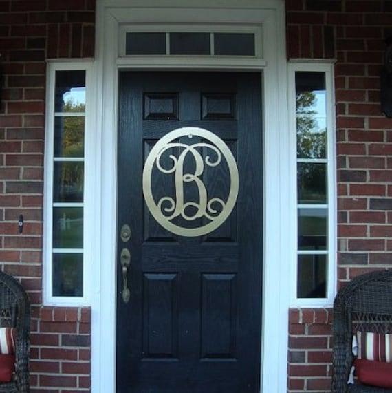 24 metal monogram door wreath front door by for Metal letters for front door