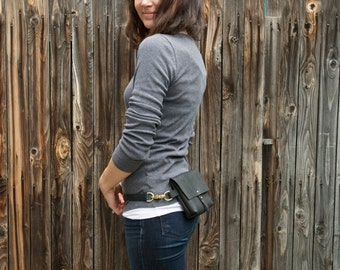 The Bogotá - Hip Bag and Pouch Purse in Charcoal Black Leather