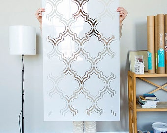Moroccan Double Wall stencil large, Royal Moroccan Wall Stencil for DIY project - Wallpaper look - Easy home decor