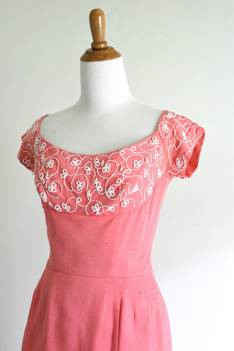 1950s vintage dress 50s pink wiggle dress cocktail dress