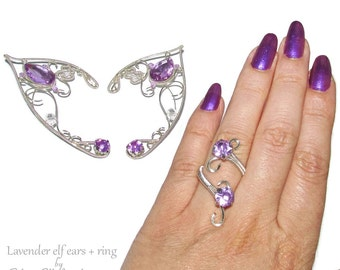 Elven jewelry set in Violet, Elven Ears with matching ring, Lavender elf ears for elf costume, elvish jewelry, fantasy lover gift
