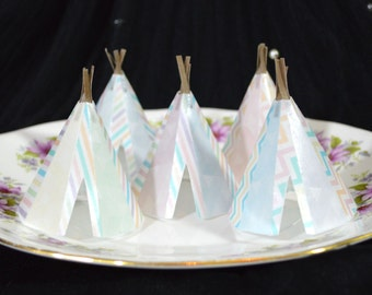 Edible Teepee's 3D x5 Boho Candy Pastel Tipi Wafer Rice Paper Bohemian Wedding Cake Decorations Wild One Rustic Birthday Cupcake Toppers RTD
