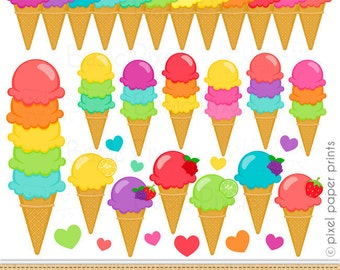 Sorbet Clipart - Digital Clip Art - ice cream - Personal and commercial use