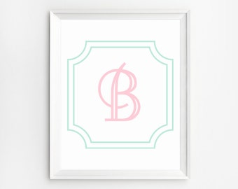 Printable letters, Nursery Decor, Initial Print, Nursery Wall Letters, Nursery Wall Art, Initial Printable, Monogram Baby Initial Prints