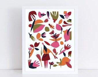 Scandinavian folk art, abstract print, whimsical art, kitchen wall decor, pink, orange, red, green, modern art print, colorful wall art