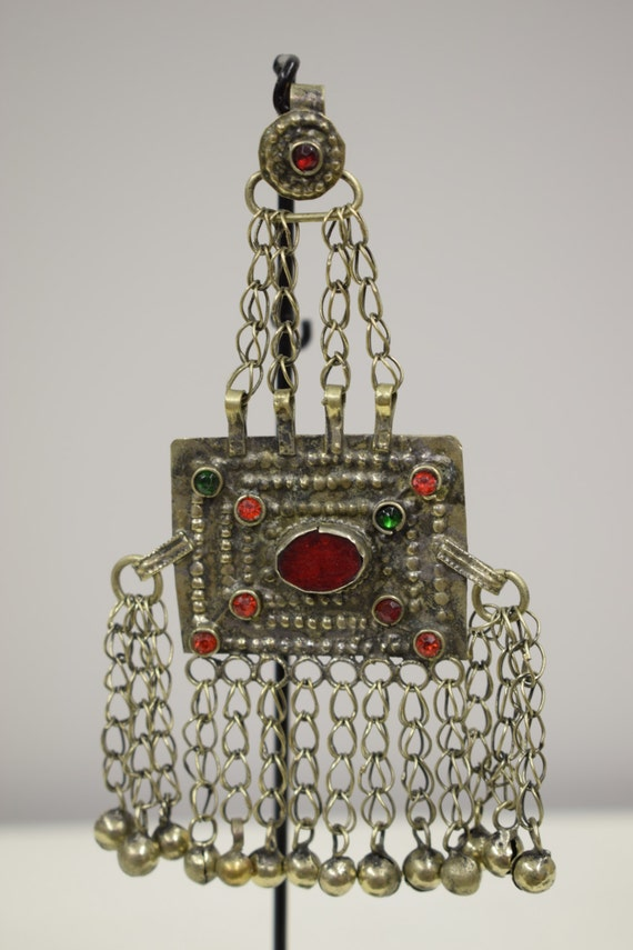 Pendant Middle Eastern Silver Kuchi Red Green Glass Handmade Jewelry Belly Dancing Unique Kuchi Dangle Pendant