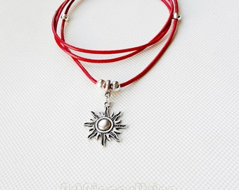 Womens Sun necklace red leather, Tibetan gray stainless steel beads, solar leather necklace red, teenager sun pendant, locket personalized,