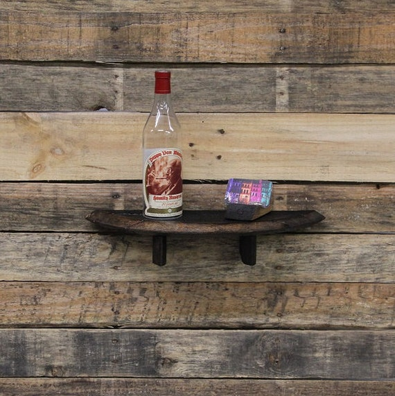 Upcycled Bourbon Barrel Shelf, Handmade Bourbon Barrel Lid & Stave Shelving, Mini Wall Shelf, Reclaimed Wood Shelves, Recycled Furniture