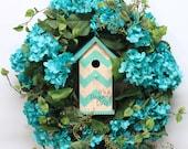 Turquoise Hydrangea Wreath, Spring Wreath, Summer Wreath, Birdhouse Wreath, Front Door Wreath, Hydrangea Decor, Wreath for Door, Turquoise