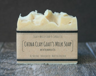 China Clay Goat's Milk Soap - All Natural Soap, Handmade Bar Soap for Sensitive Skin, Dry Skin - Kaolin Clay, Goat Milk, Palmarosa Oil