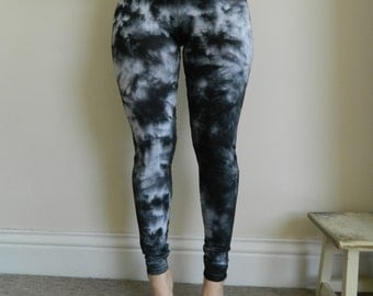Tie Dye cotton Leggings acid wash Yoga Pants yoga high waist hand dyed Leggings customized black marbre dyed personalised