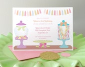 Candy shoppe invitation, candy land party, candy shop birthday, sweet shop birthday party,1st birthday party, RESERVED for Wittney