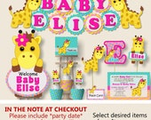 Giraffe Baby Shower Decorations, Giraffe 1st First Birthday Party Supplies -  Cake Topper, Invitation, Party Favor, Banner, Invite