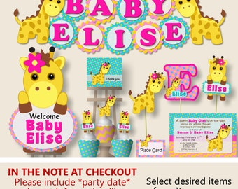 Giraffe Baby Shower Decorations, Giraffe 1st First Birthday Party Supplies    Cake Topper, Invitation