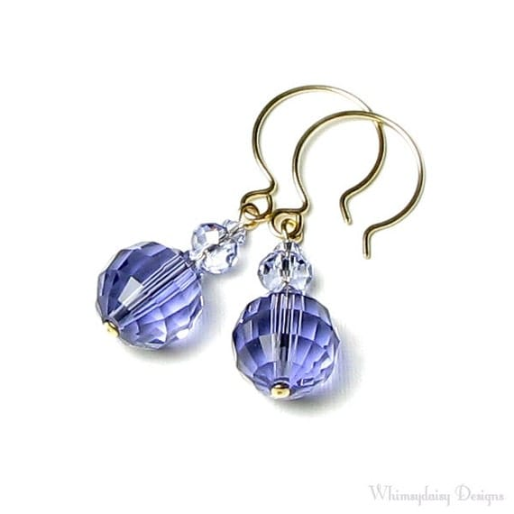 Tanzanite Purple Provence Lavender Swarovski Crystal 14K Gold Filled French Hoop Earrings Lavender Lace Spring Wedding Jewelry Violet Lilac