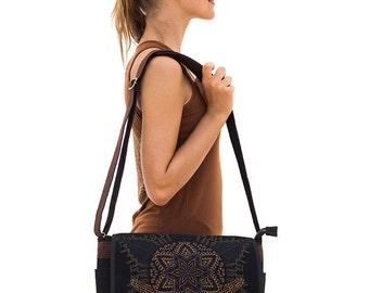 Anahata Canvas Messenger Bag For Women Men Messenger Bag, Laptop Bag, 13 inch, 15 inch, Sacred Geometry, Macbook Bag