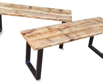 Industrial Reclaimed Bench - Upcylced hall or dining bench on Steel Base