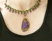 Purple Agate Necklace, Green Rhinestone Necklace, Wire Wrapped Jewelry Handmade, Art Jewelry, Agate Slice, Brass Beads, Wire Wrapped Pendant