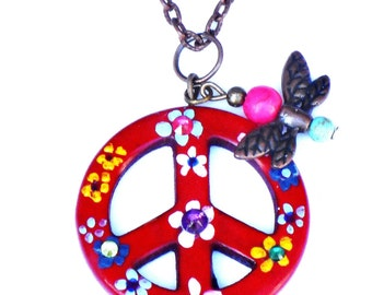 Painted Flower Butterfly Peace Necklace Bohemian Hippie Jewelry FREE SHIPPING