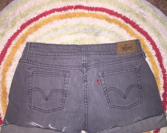 Levi's High Waisted Shorts Vintage Levis Shorts //  Gray Shorts // SALE