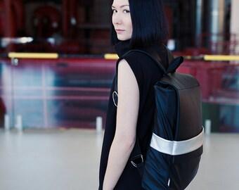 Faux Leather Backpack, Minimalistic Backpack, Black Backpack, Silver Backpak,Back To School Backpack, Handmade, Vegan Backpack
